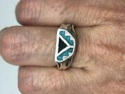 Vintage Southwestern Turquoise Silver White Bronze Inlay Size 7.5 Ring
