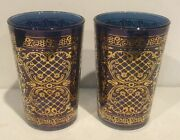 Timon Glass Pair Of 2 Blue Juice Glasses Hand Decorated With Gold Design