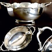 Large Antique 1920s English Silver Plated 12andrdquo/30cm Oval Serving Bowl 750g