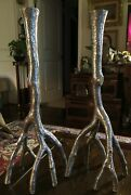 Extremely Rare Michael Aram Root Form Candlesticks 16andrdquo Silvered Finish Wow