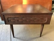Antique Furniture Wood End Table With Weave Patterned Drawer Vintage Early1960s