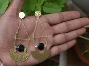 12mm Round Black Spinel Cut Stone Hammered Finish Gold Plated Half Moon Earrings
