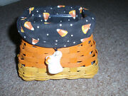 Longaberger 2016 Candy Corn Basket With Liner, Protector And Tie-on, New