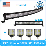 52and039and039in 300w Curved Led Work Light Bar+120w 22and039and039+48w Lights Ford Wrangler Vehicle