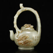 6.1 Antique Chinese 100 Natural Hetian Jade Pine Pattern Handcarved Teapots