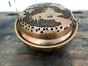 Antique Chinese Copper Hand Warmer, Double Handles Incense Burner, Vintage Brass