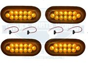 4x Dual Revolution Amber Turn Signal And Marker To White Aux Led Oval Light 6
