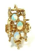 14k Yellow Gold Opal And Diamond Mid Century Modernist, Brutalist Ring