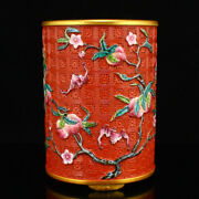 4.9 Old China Porcelain Gilt Red Famille Rose Carved Peach Pattern Brush Pots