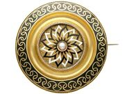 Enamel And Seed Pearl 15 Ct Yellow Gold Mourning Brooch - Antique Victorian