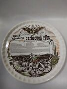 Vintage Wild Western Barbecued Ribs Recipe Decorative Platter Best Ribs In West