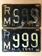 Antique License Plates Matching Pair 1951 New Jersey Rm999 Vintage Rare