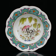 8.7 Antique Old Chinese Porcelain Hand Painting Double Horse Flower Tree Plate