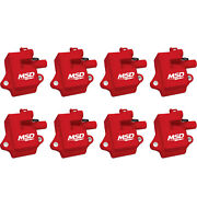 Msd 82858 8-pack Ignition Coil Pack Pro Power Red For Gm Ls-series Ls1 / Ls6