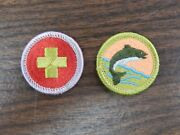 Vintage Boy Scout Merit Badges Fishing And First Aid Used Free Shipping