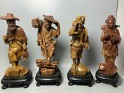 10.6 Old China Shoushan Stone Carved Fishing Firewood Plowing Read Statue A Set
