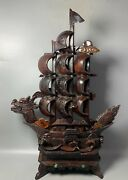 27.1 Antique Old China Ox Horn Hand Carved Dragon Boat Statue Asian Collection
