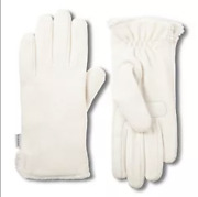 Isotoner Women's Smartdri Fleece With Smartouch Technology Gloves, Ivory, 1 Size