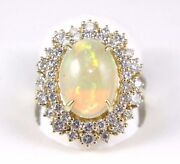 Natural Oval Fire Opal And Diamond Halo Solitaire Ring 14k Yellow Gold 5.42ct