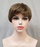 Womens Short Boy Cut Straight Hair Pixie Style Wig Monofilament Mono Top Mabelle