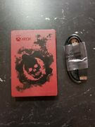 Xbox Gears Of War 4 Seagate 2tb Hard Drive Rare Red - Tested And Working W/ Cable