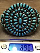 Rare Collectible Old Pawn Sterling Gem Blue Turquoise Cluster Cuff Bracelet 89+g