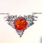 Antique Vintage Style Sterling Silver Celtic Viking Animal Wolf Amber Necklace