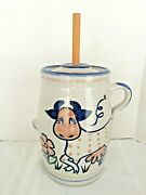 Vint. Louisville Stoneware Rare Polka Dot Cow Butter Churn Crockused Great Cond