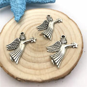 6 Pieces New Angel With Star Charms Tibetan Silver Alloy 27 X 21mm Free Shipping
