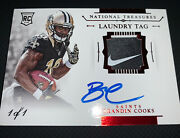 2014 National Treasures Brandin Cooks 1/1 Rc Nike Patch Auto Rpa
