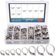 Glarks 100pcs Adjustable 8-44mm Range 304 Stainless Steel Worm Gear Hose Clamps