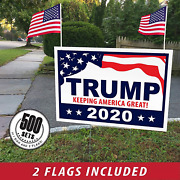 Donald Trump For President 2020 Yard Signs W/ H-frames 18x12 500 Pack Flags