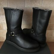 Ugg Classic Berge Short Waterproof Black Leather Shearling Boots Size 8 Womens