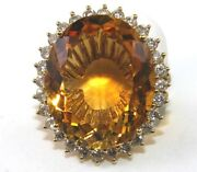 Natural Oval Orange Citrine And Diamond Halo Solitaire Ring 14k Yellow Gold 24.12c