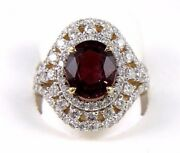 Natural Oval Red Tourmaline And Diamond Halo Solitaire Ring 14k Yellow Gold 5.35ct