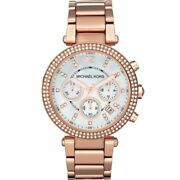 Rose Gold Parker Date Chronograph Crystal Womens Watch Mk5491
