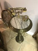Rare Vintage Brass And Marble Floor Table Rotary Dial French Phone Mid Century