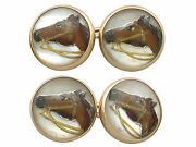 Essex Crystal And 14carat Yellow Gold Horse Cufflinks - Antique Victorian