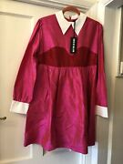 New House Of Holland Pink And Red Silk Shirt Dress With White Collar And Cuffsuk14