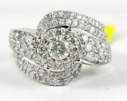 Natural Round Diamond Bypass Curve Cluster Ring Band 14k White Gold 2.23ct