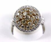 Natural Round Brown Diamond Cluster Ladyand039s Ring 14k White Gold 1.90ct