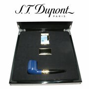 St Dupont Claud Monet Smoking Set Blue Lacquer Pipe Gold Band And Ligne 2 Lighter