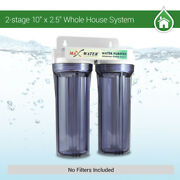Two Stage Whole House Water Filter System 10x 2.5, 3/4 Port, Without Filters