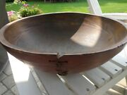 Large Antique Vintage Turned Wood Bowl - Red Paint - Repaired Crack