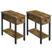 Narrow Side Tables Set Of 2 End Tables With Drawer 2-tier Wood Nightstands