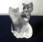 Lenox Crystal Clear/textured 2 Cats Together Collectable Fine Crystal Glass