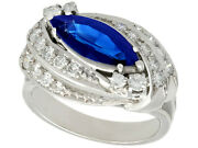 Vintage 2.62 Ct Sapphire And 1.12 Ct Diamond 14k White Gold Cocktail Ring 1950s