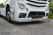 Truck Low Bar + Leds For Mercedes Mp5 Front Spoiler Under Bumper Stainless Lobar
