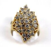 Natural Round Diamond Cluster Floral Long Ladyand039s Ring 14k Yellow Gold 2.02ct