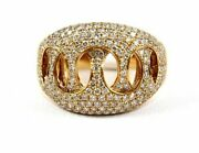 Natural Round Diamond Cluster Criss Cross Wide Ring Band 18k Rose Gold 1.84ct